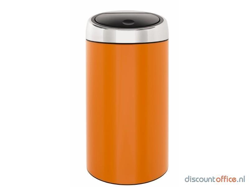 Prullenbak Brabantia Touch Bin 45 Liter.Brabantia Touch Bin 45 Liter Oranje