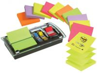 Post-it Dispenser Z-Notes Value Pack Incl. 12 blokken gesorteerde neon