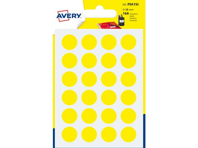 Etiket Avery 15mm rond blister 168st geel