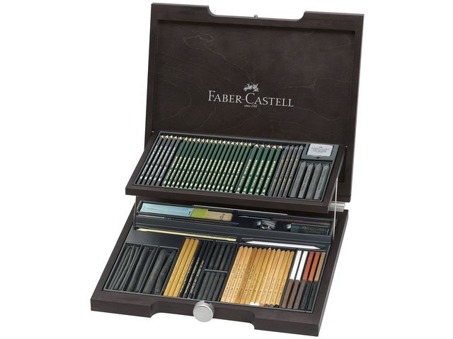 potlood faber castell pitt monochrome artist set houten koffer. Black Bedroom Furniture Sets. Home Design Ideas
