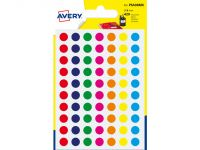 Etiket Avery 8mm rond blister 490st assorti