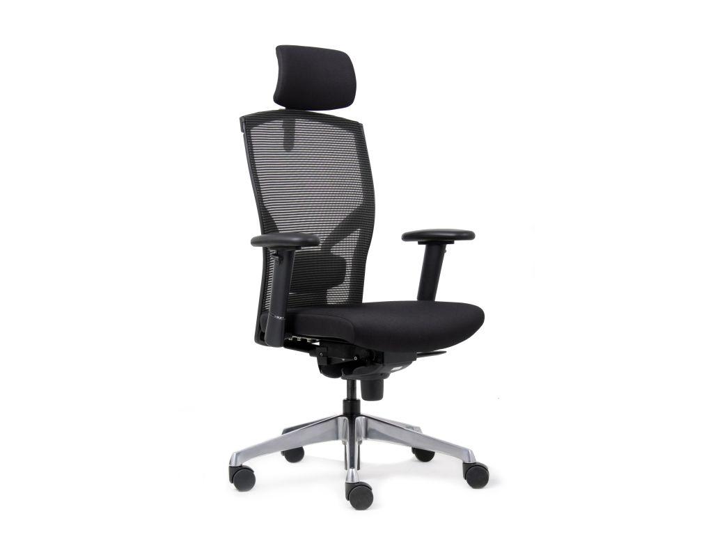 Bureaustoel Met Neksteun.Bureaustoel Met Hoofdsteun Ergonomica Stof Zwart Discountoffice Nl