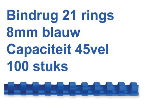 Bindrug Fellowes 8mm 21-rings A4 blauw 100stuks