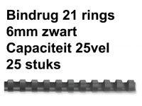 Bindrug Fellowes 6mm 21rings A4 zwart 25stuks