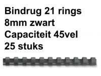 Bindrug Fellowes 8mm 21 Rings A4 Zwart 25 Stuks