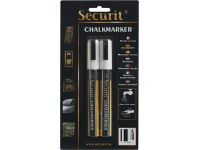 Krijtstift Securit SMA-510 schuin wit 2-6mm blister à 2st