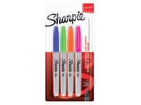 Viltstift Sharpie rond 0.9mm blister à 4 stuks fun assorti