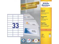 Etiket Avery Zweckform 3421 70x25.4mm wit 3300stuks
