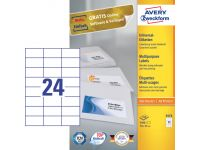 Etiket Avery Zweckform 3474 70x37mm wit 2400stuks